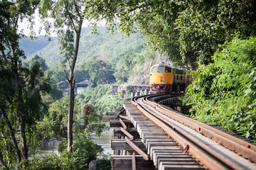 Train on Death railway of Kanchanaburi, Thailand
