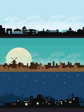 bethlehem jerusaslam rome city scape flat illustration