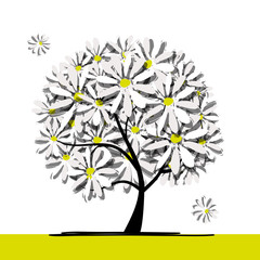 Art tree with camomiles for your design