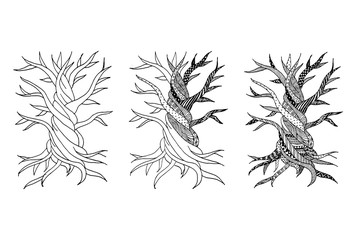Abstract old tree with roots, zen doodle for your design