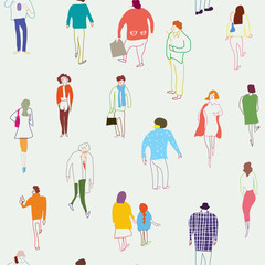 People and crowd seamless  pattern
