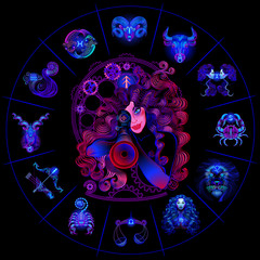 Neon horoscope circle with signs of zodiac. Set astrology signs. Sagittarius.