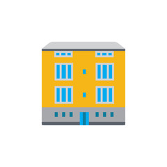 Vector icon or illustration with building in material design style