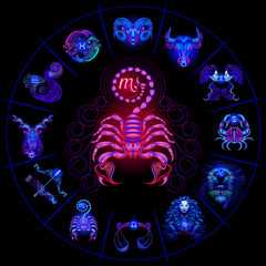 Neon horoscope circle with signs of zodiac. Set astrology signs. Scorpio.