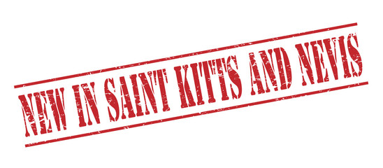 new in saint kitts and nevis red stamp on white background