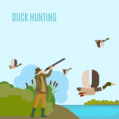 Hunting concept illustration. Duck hunting vector illustration with hunter and ducks