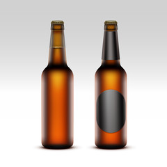 Set of Closed Blank Glass Brown Bottles with without Black labels of Light Beer Close up Isolated on White Background