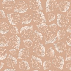 Birch leaves. Seamless pattern. Hand drawn. Graphic drawing. Illustration