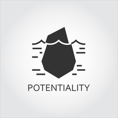 Vector black flat icon hidden potential and opportunity as iceberg