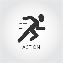 Black flat vector icon action, activity as running man, runner