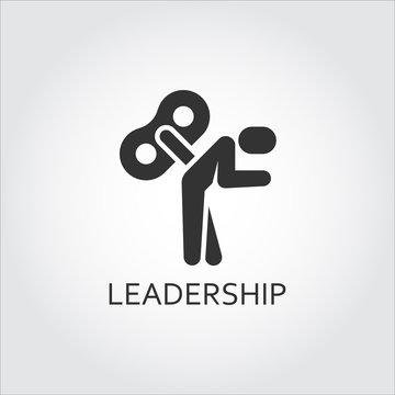 Flat black vector icon leadership, lack motivation, key man marionette