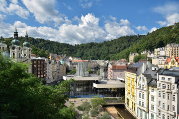 Blick auf Karlovy Vary / Karlsbad in Tschechien