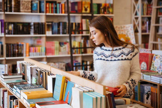 Woman in book shop