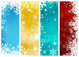 Set of four colorful Christmas background banners with snowflake