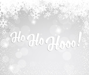 Christmas silver background with snowflakes and Ho Ho Hooo! text
