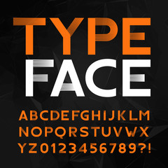 Decorative alphabet typeface. Type letters and numbers on a polygonal background. Vector font for headlines, posters, logos etc.