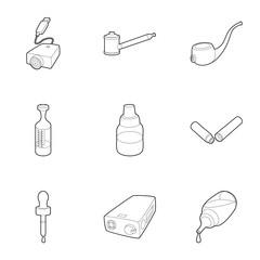 Cigarette icons set. Outline illustration of 9 cigarette vector icons for web
