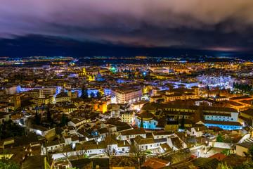 night aerial view of the spanish city granada