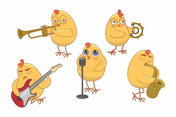 chicks play various musical instruments. vector illustration