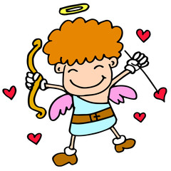 Happy cupid with love cartoon