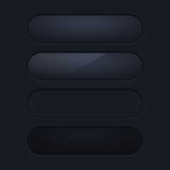 Black long interface buttons. Blank app elements on dark background