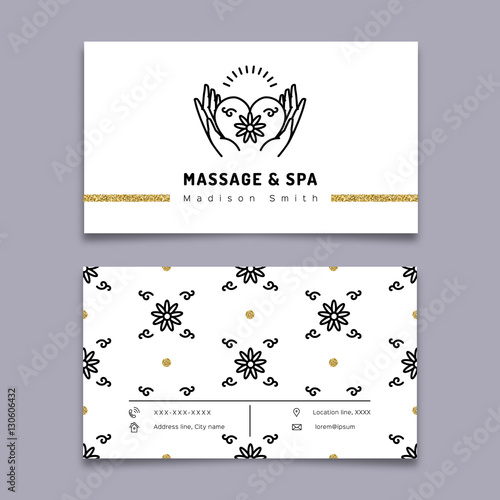 Vector massage and spa therapy business card template trendy linear vector massage and spa therapy business card template trendy linear icon hands holding heart reheart Images