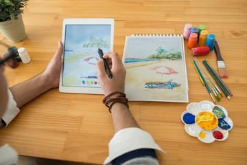 Drawing on digital tablet