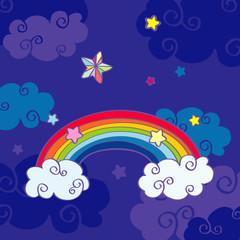 Hand drawn cartoon rainbow and clouds night sky