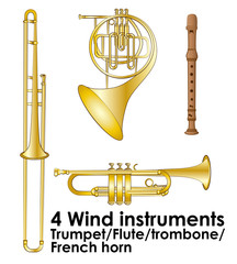 wind instruments vector illustration