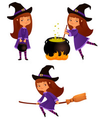 cute cartoon illustrations of a small witch girl
