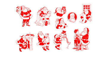 a collage of Santa Claus, isolated on white background illustration