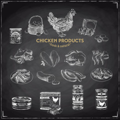Vector hand drawn chicken product Illustrations.