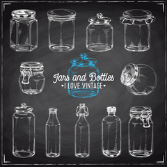 Vector hand drawn Illustration with jars and bottles.