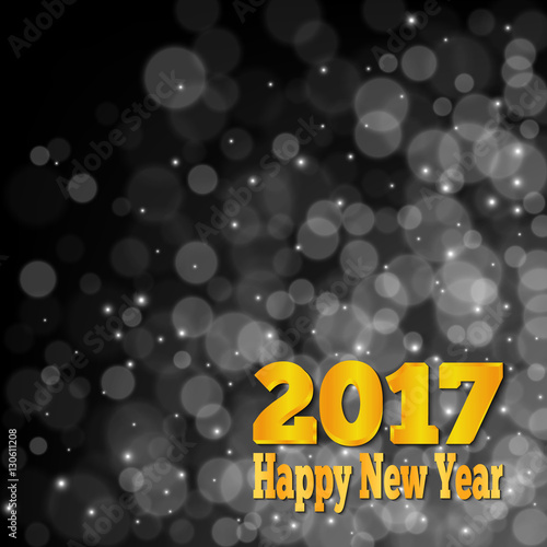 happy new year banner abstract black and white bokeh background vector illustration