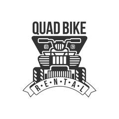 Quad Bike Renting Label Design Black And White Template With Text For Quadricycle Rental Business
