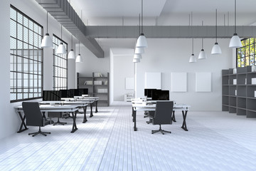 3D Rendering : illustration of modern interior Creative designer office desktop with PC computer.computer labs.working place of graphic design.close-up.Mock up.wood floor.light from outside