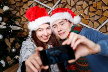Beautiful young couple make selfie
