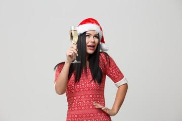 Christmas brunette on isolated background