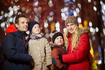 Christmas photo of fun family