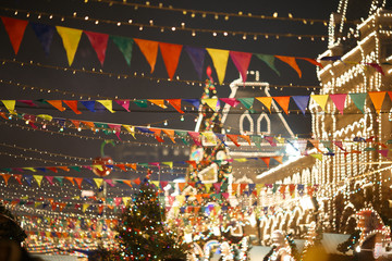 Festively decorated city with flags