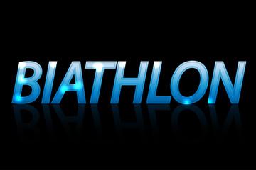 Banner with blue text Biathlon