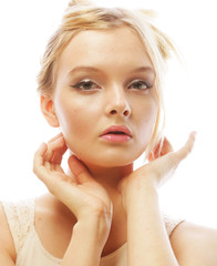 Photo of young beautiful woman with blond hair