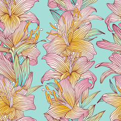 Seamless vector floral pattern. Pink lilies flowers