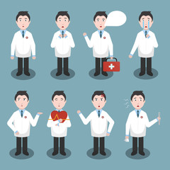 Collection of vector cartoon doctor character in various emotions and poses. Concept of medical science and healthcare.