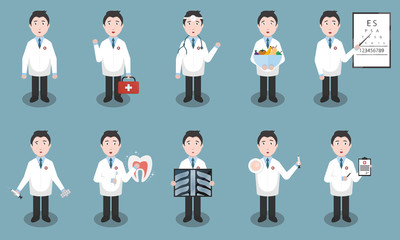 Set of vector cartoon doctor character in different situations and specialty. Concept of medical science and healthcare.