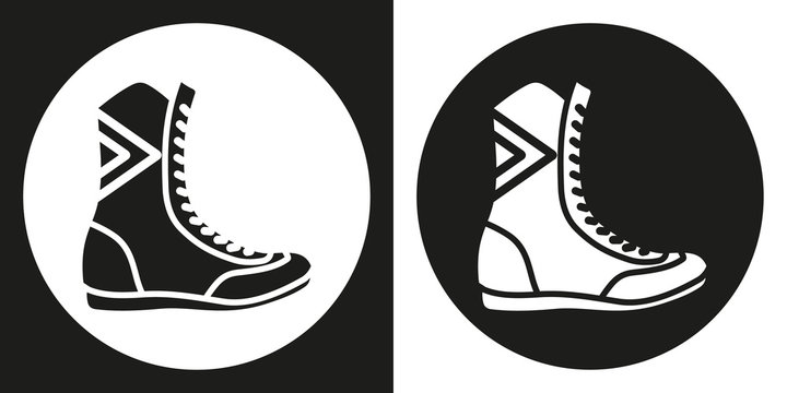 Boxing boots icon. Silhouette boxing shoes on a black and white background. Sports Equipment. Vector Illustration.