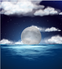 Ocean scene with fullmoon at night