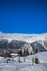 Mountains ski resort Caucasus- nature and sport background .