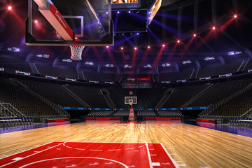 Basketball court. Sport arena.Photoreal 3d render background. blured in long shot distance(like leans optical), a little noise (like photography) colour