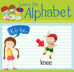 Flashcard letter K is for knee